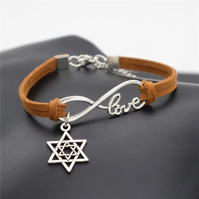 Infinity Love Star of David Charms Leather Bracelets | Shop Latest Jewelry Accessories | Judelry.com