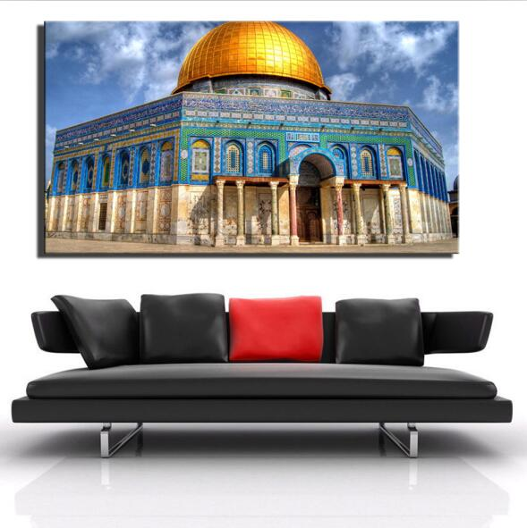 Jerusalem World Famous Building Golden Rock Grand Mosque Muslim Wall Decor Pictures Al-Aqsa Mosque Painting Print On Canvas