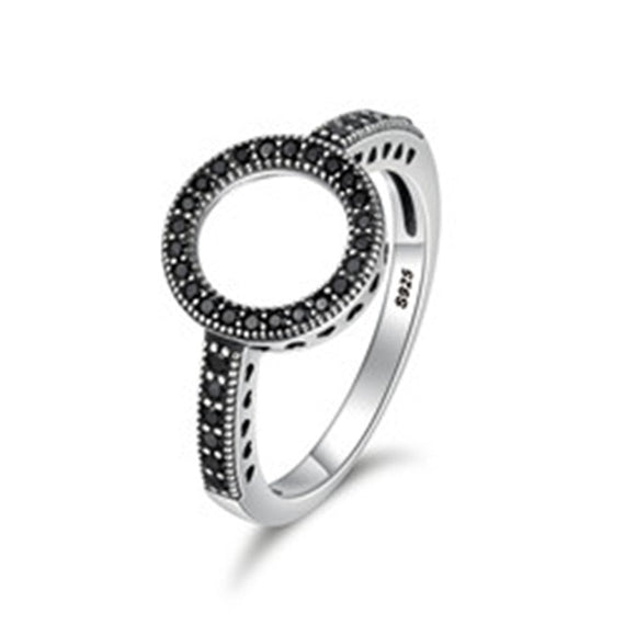 100% Genuine 925 Sterling Silver Forever Clear Black CZ Circle Women Silver Ring | Shop Latest Jewelry Accessories | Judelry.com