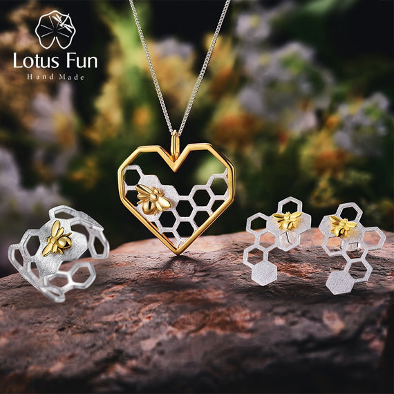 Lotus Fun Real 925 Sterling Silver Handmade Fine Jewelry Honeycomb Home Guard Jewelry Set with Ring Earring Pendant Necklace | Shop Latest Jewelry Accessories | Judelry.com