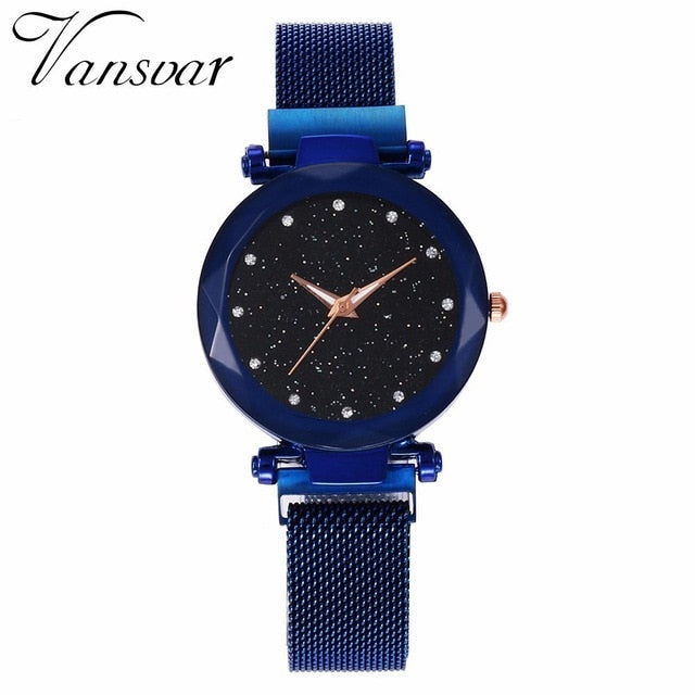 Best Selling Women Mesh Magnet Buckle Starry Sky Watch Casual Luxury Women Geometric Surface Quartz Watches Relogio Feminino | Shop Latest Jewelry Accessories | Judelry.com