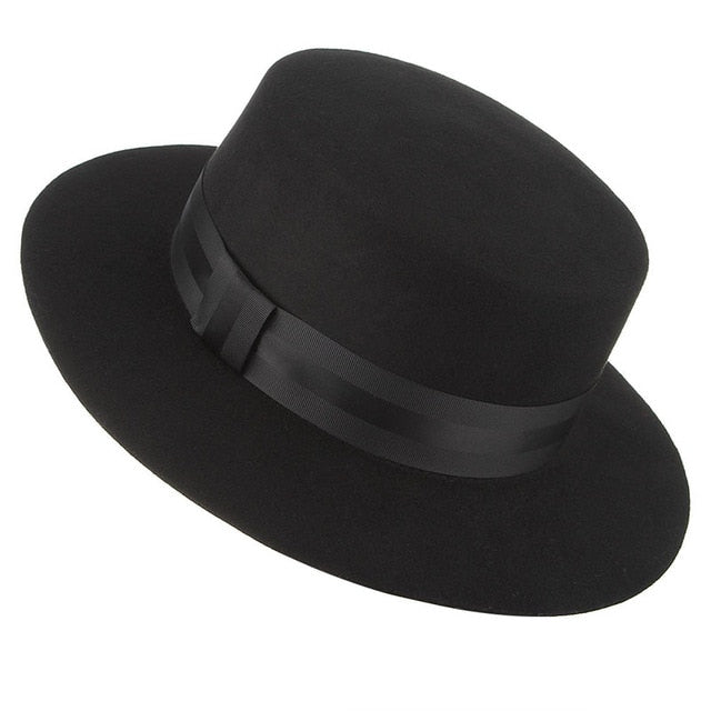 QDKPOTC Autumn Winter High Quality Wide Brim Fedoras Men Jazz Hat Black Flat Brim Felt Cap Wool For Fashion Women Jewish Hat | Shop Latest Jewelry Accessories | Judelry.com