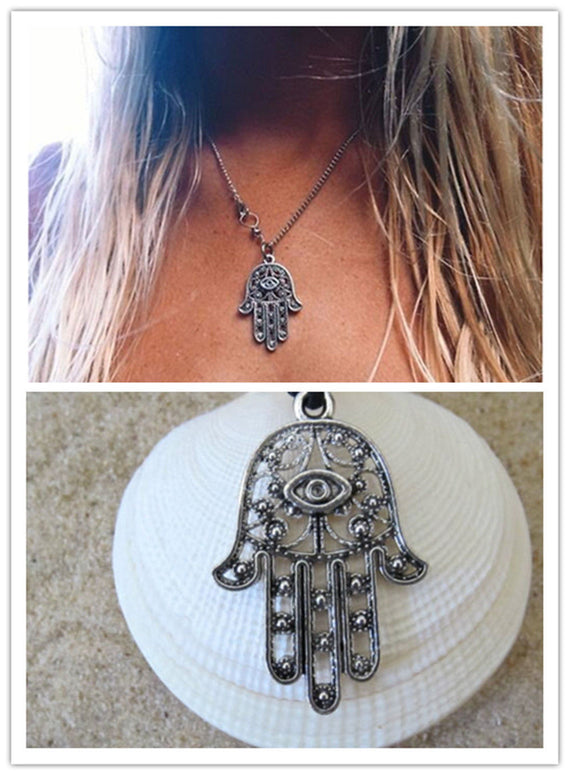 Hamsa Hand Pendant Charm Silver Chain Necklace Jewish Judaica Kabbalah | Shop Latest Jewelry Accessories | Judelry.com