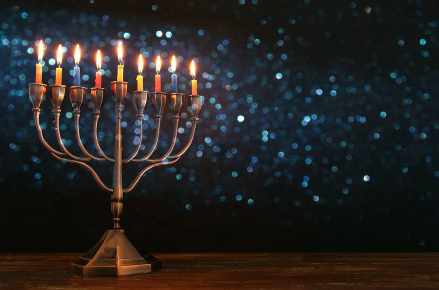 Jewish Holiday Menorah And Burning Candles Backgrounds  High quality Computer print  chanukah party backdrops | Shop Latest Jewelry Accessories | Judelry.com