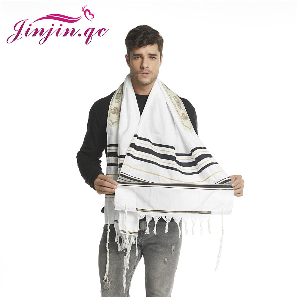 "Jinjin.QC Scarf For Men 72x22"" (Approx) Messianic Jewish Tallit Talit Prayer Shawl and Talis Bag Prayer Scarves and Shawls 