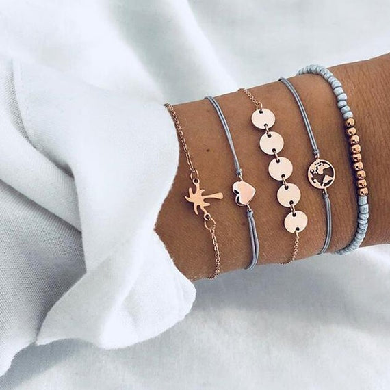 4pcs/1set Punk Bracelet Simple Geometric Leaf Knot Metal Chain Bracelet Bohemian Retro Bracelet Jewelry Accessories | Shop Latest Jewelry Accessories | Judelry.com