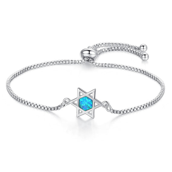 Blue Opal Crystal Star of David Charm Bracelet | Shop Latest Jewelry Accessories | Judelry.com