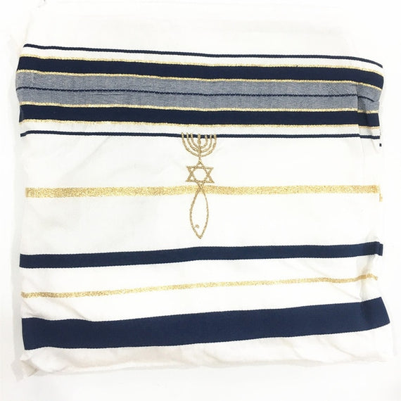 Messianic Tallit Prayer Shawl Talit Blue And Gold With Bag Israel | Shop Latest Jewelry Accessories | Judelry.com