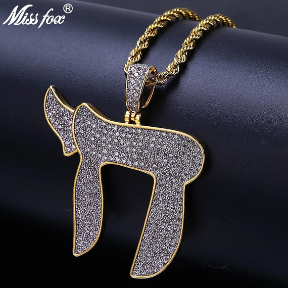 MISSFOX Hip Hop Religion Symbol Chai Men Necklace Gold Iced Out Micro Pave AAA CZ Stone Jewish Gold Pendant Necklaces Rope Chain | Shop Latest Jewelry Accessories | Judelry.com