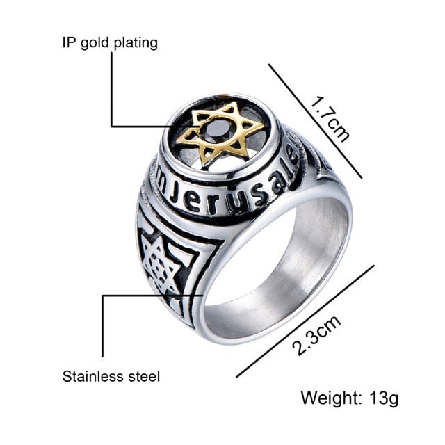 Jerusalem Gold Star of David Ring Men Religious Judaism Israel Jewish Jewelry Men Ring Stainless Steel Obsidian David Star Rings