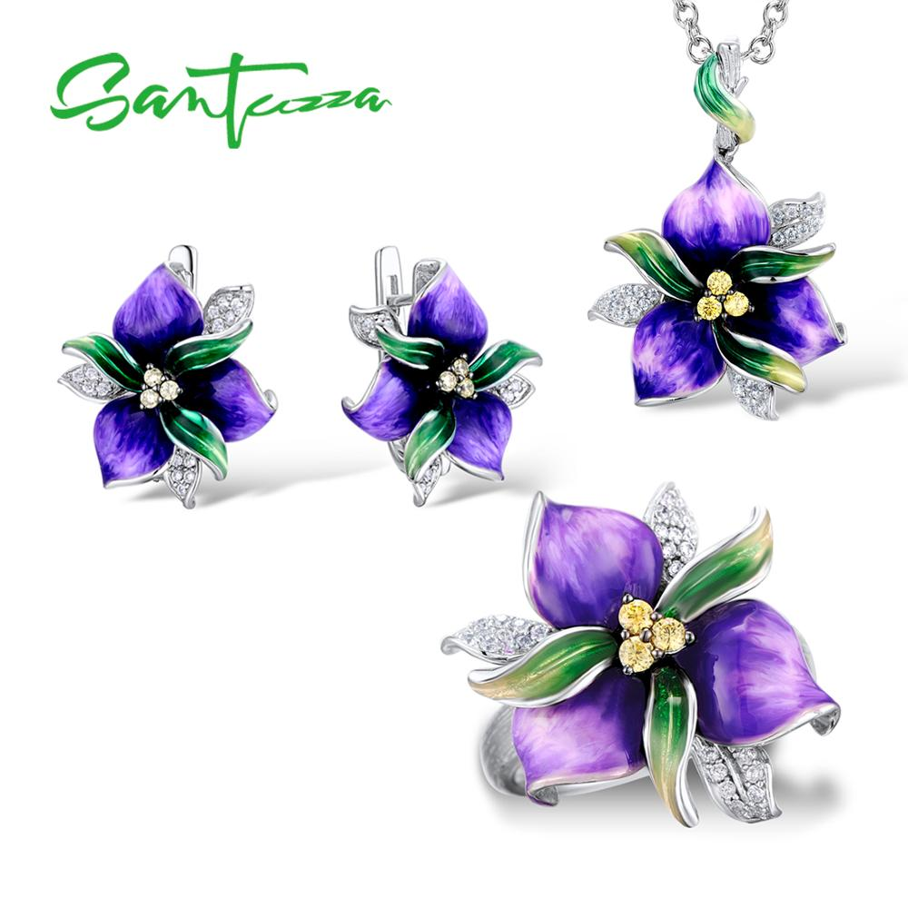 SANTUZZA Jewelry Set Purple Flower CZ Stones Ring Earrings Pendent 925 Sterling Silver Women Jewelry Set HANDMADE Enamel | Shop Latest Jewelry Accessories | Judelry.com