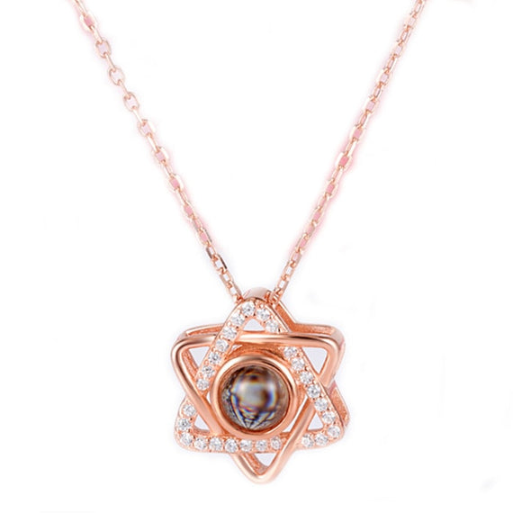 Stainless Steel Star Of David Charm Necklace Women Jewish Jewelry Rose Gold 100 Language i Love You Projection | Shop Latest Jewelry Accessories | Judelry.com
