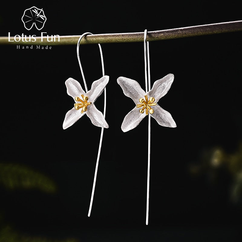 Lotus Fun Real 925 Sterling Silver Natural Handmade Fine Jewelry Vintage Poetic Clover Fashion Drop Earrings for Women Brincos | Shop Latest Jewelry Accessories | Judelry.com