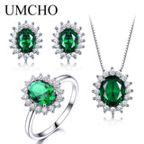 925 Sterling Silver Jewelry Set Nano Green Emerald Ring Pendant Stud Earrings For Women Brand Fine Jewelry Top Quality | Shop Latest Jewelry Accessories | Judelry.com