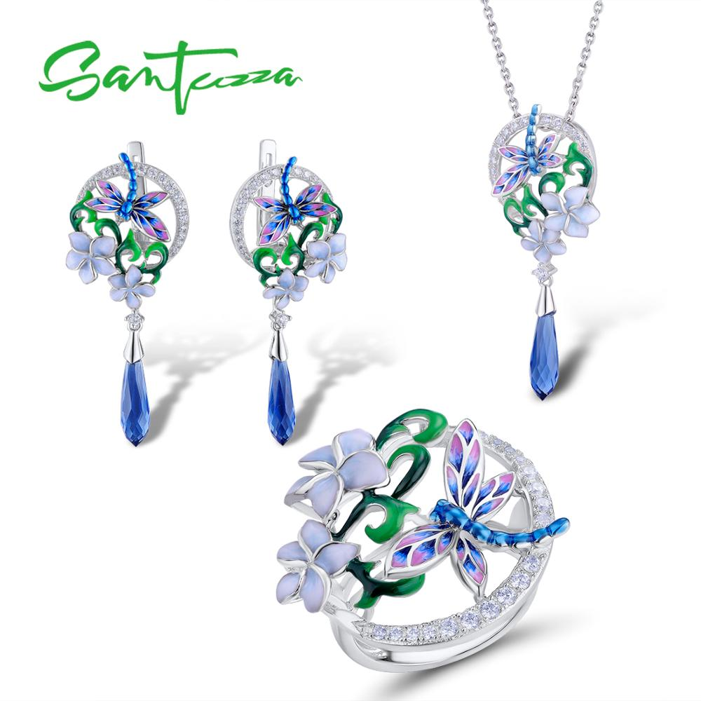 SANTUZZA Jewelry Set 925 Sterling Silver For Woman Trendy Dragonfly Flower Ring Earrings Pendant Fashion Jewelry HANDMADE Enamel | Shop Latest Jewelry Accessories | Judelry.com