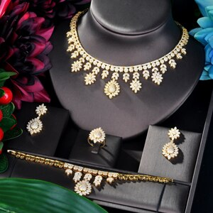 Full zircon Set, Neckless and earrings set, Bracelet, ring - Dubai Style