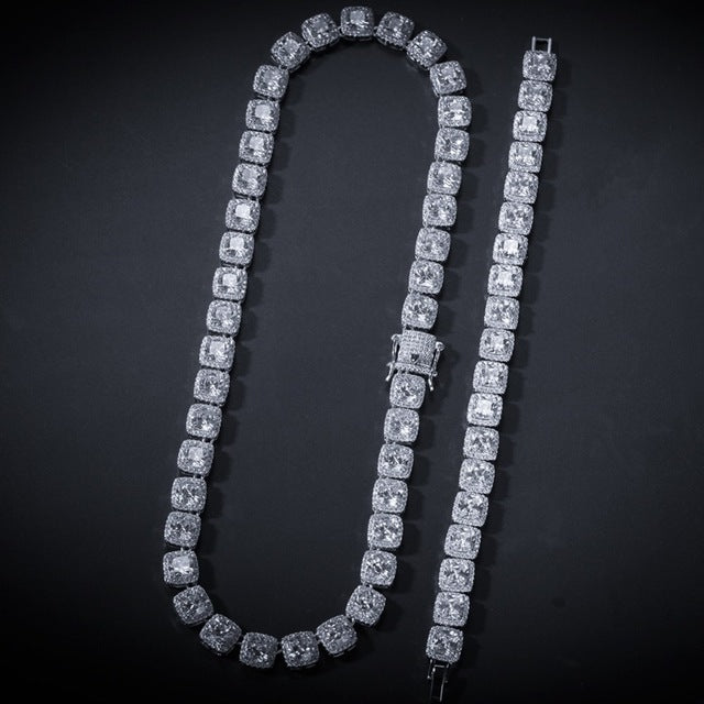UWIN 10mm Jewelry Set Gold/White Gold Bling Square Iced Link Chain Necklace & Bracelet Bundle Top Quality Hiphop Drop Shipping | Shop Latest Jewelry Accessories | Judelry.com