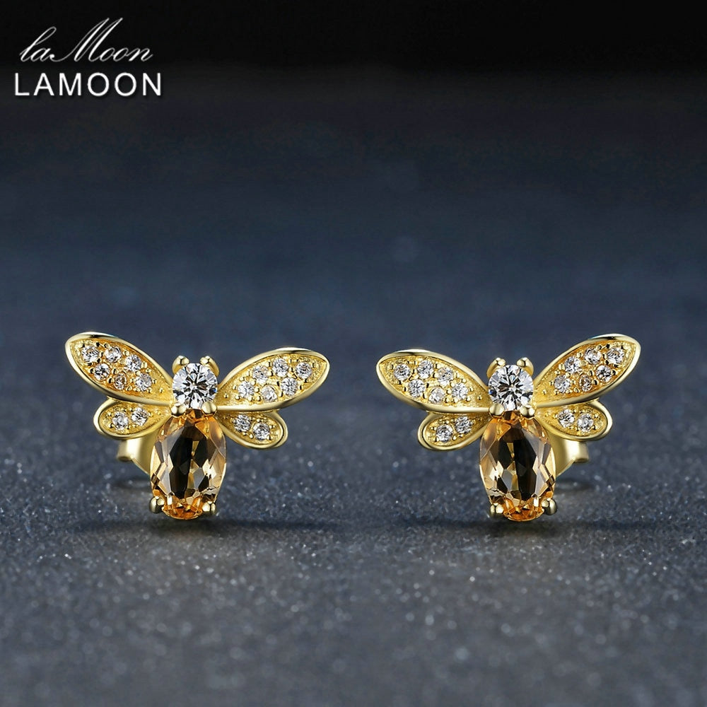 Bee 6x4mm 100% Natural Citrine 925 sterling-silver-jewelry 14K Yellow Gold Plated Stud Earring | Shop Latest Jewelry Accessories | Judelry.com