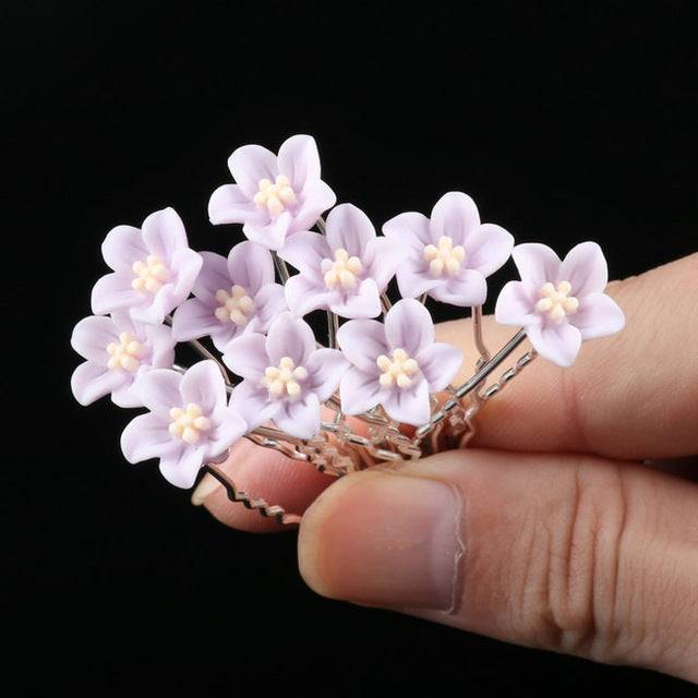 10pcs/Lot Wedding Crystal Resin Flower Hair pins For Silver Bridal Hair Accessories Women Pearl Hair Clips Wedding Hair Jewelry | Shop Latest Jewelry Accessories | Judelry.com