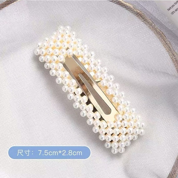 Korean Simulated Pearl Barrettes Beaded Geometric Women Hair Clip Hairgrips Hair Accessories Girls Jewelry Fashion Hair Pins | Shop Latest Jewelry Accessories | Judelry.com