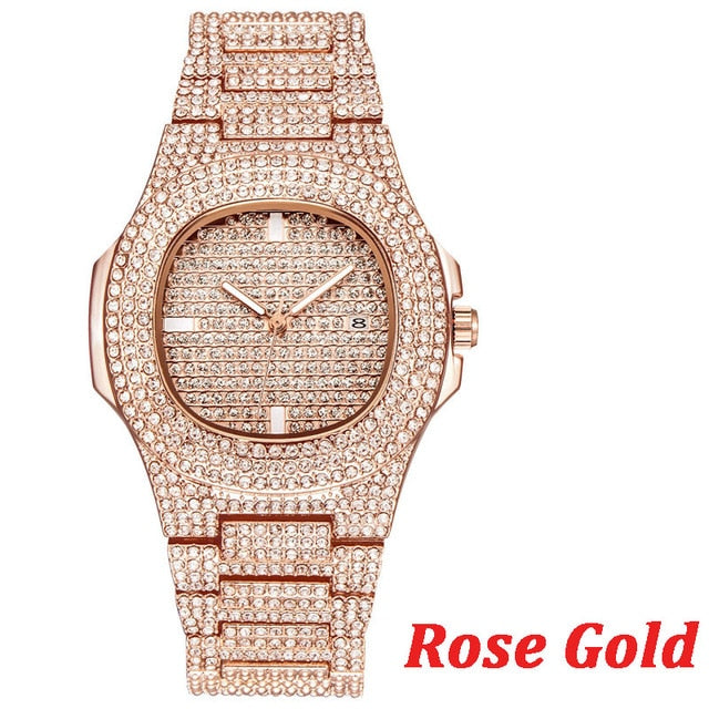 TOPGRILLZ Brand Iced Out Watch Quartz Gold HIP HOP Wrist Watches With Micropave CZ Stainless Steel Ice Watch Clock relogio