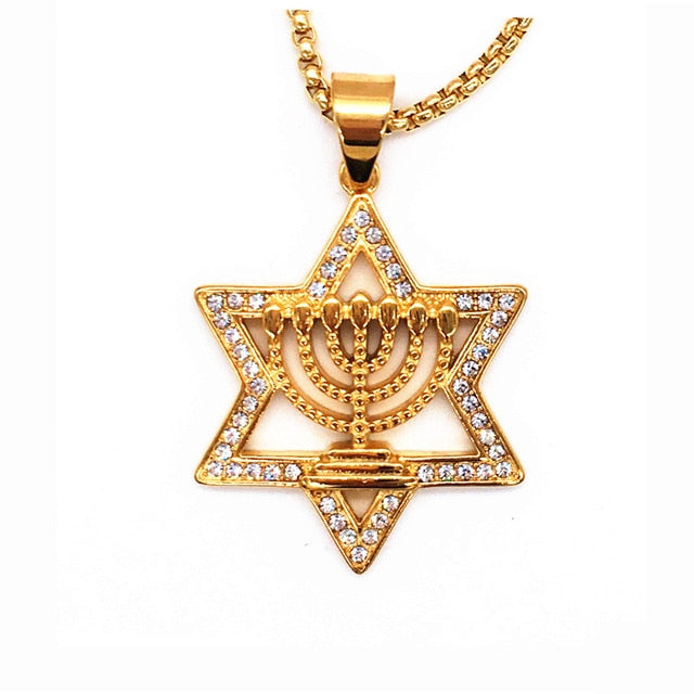 Israel Menorah Judaism Hebrew Necklace Star of David Menorah Gold color Religious Neclace | Shop Latest Jewelry Accessories | Judelry.com