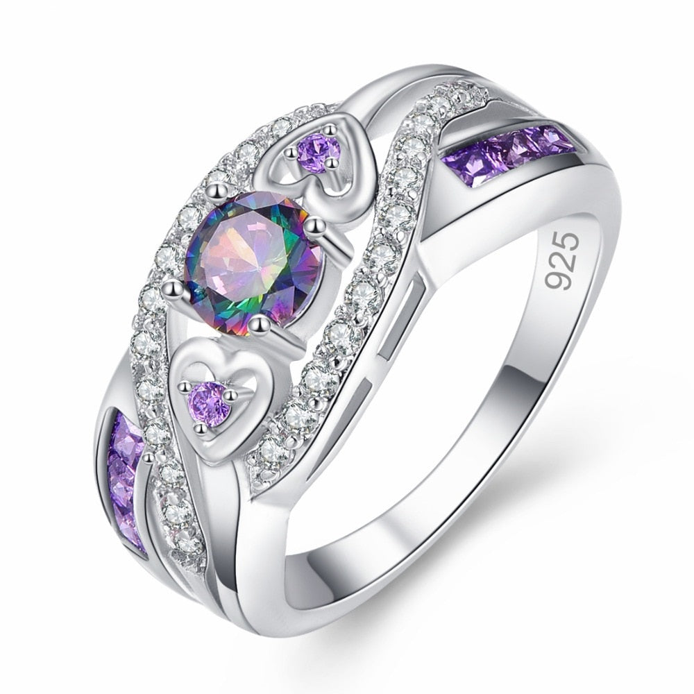 New arrive Multicolor & Purple White CZ Silver Color Ring for women jewelry size 6 7 8 9 10 | Shop Latest Jewelry Accessories | Judelry.com