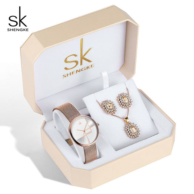 Rose Gold Women jewelry Set Luxury - Earring, Necklace And Watch