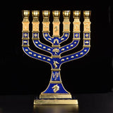 Blue Enamel Menorah Gold Plated 7 Branch Tribes Of Israel Jerusalem | Shop Latest Jewelry Accessories | Judelry.com