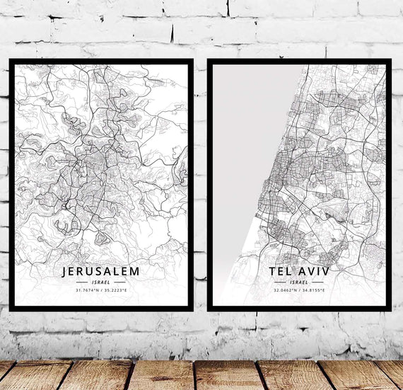 Jerusalem Tel Aviv Israel Map Poster | Shop Latest Jewelry Accessories | Judelry.com