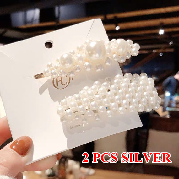 Pearl Style Hair Clip, Hand Made - 2 Pcs | Shop Latest Jewelry Accessories | Judelry.com