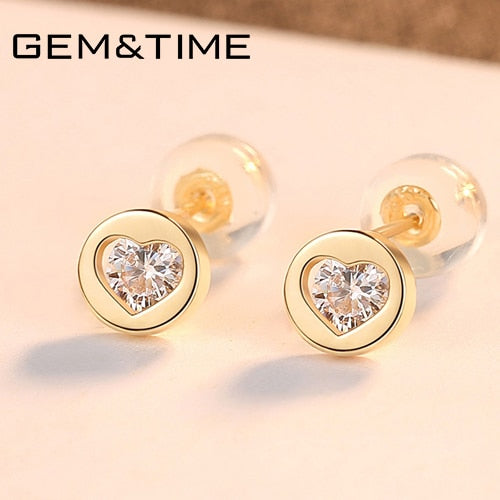 14K Gold Earring Design, studs With Zircon