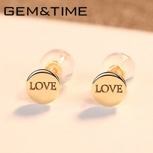 14K Gold Stud Earrings for Women, Yellow Gold, LOVE