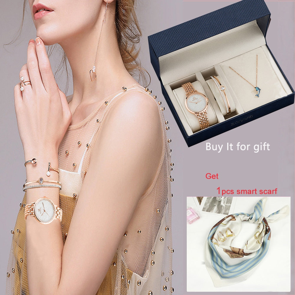 3Pcs Ladies Dress Bracelet Wristwatches Top Quality Stainless Steel Bangle Gold Women Decorate Smart Quartz watches Gift big box | Shop Latest Jewelry Accessories | Judelry.com