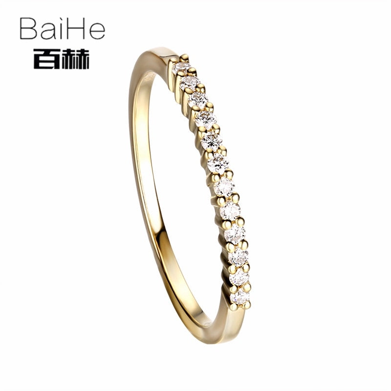 BAIHE Solid 14K Yellow Gold 0.12CT Certified H/SI Round Cut 100% Genuine Natural Diamonds Wedding Women Trendy Fine Jewelry Ring | Shop Latest Jewelry Accessories | Judelry.com