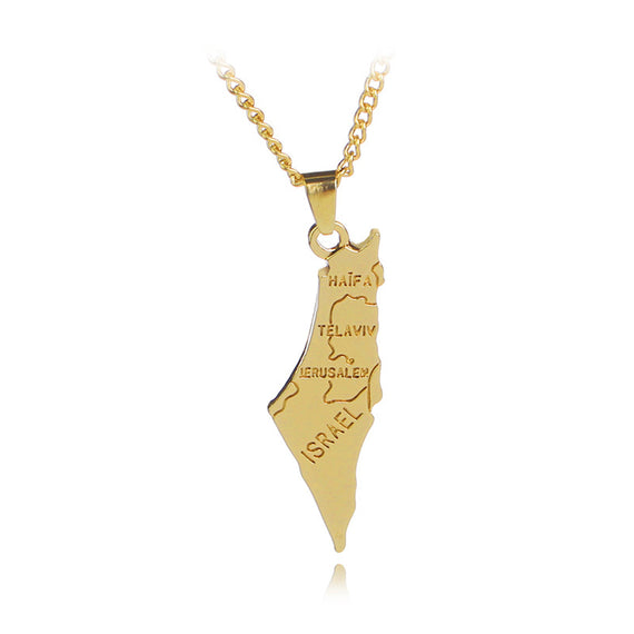 Gold Israel Map Pendant | Shop Latest Jewelry Accessories | Judelry.com