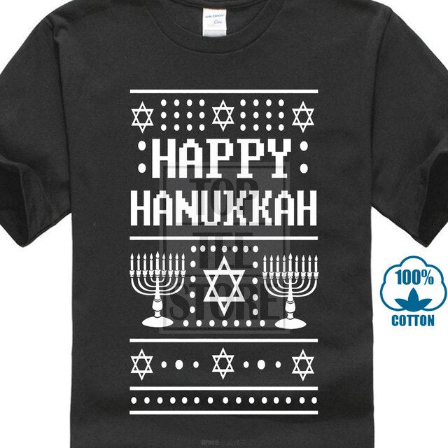 528 Happy Hanukkah Ugly Christmas Sweater Mens T Shirt Jewish Holiday Funny New Male Pre-cotton Clothing 100% Cotton | Shop Latest Jewelry Accessories | Judelry.com