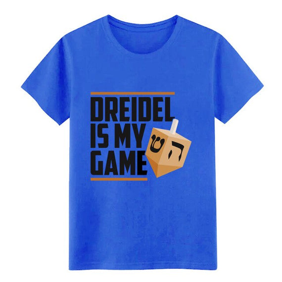 Men's Dreidel Is My Game Jewish Winter Hanukkah Holiday t shirt printed cotton round Neck Family Loose Comical Outfit shirt | Shop Latest Jewelry Accessories | Judelry.com