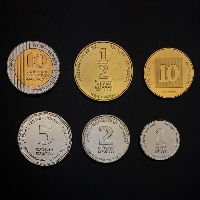 "Israeli ""shekel"" Set 6 Coins,  0.1 1/2 1 2 5 10 SHEQEL, 10 AGOROT,UNC, Uncirculated Collection, Gift, Real, Original, Genuine coins 