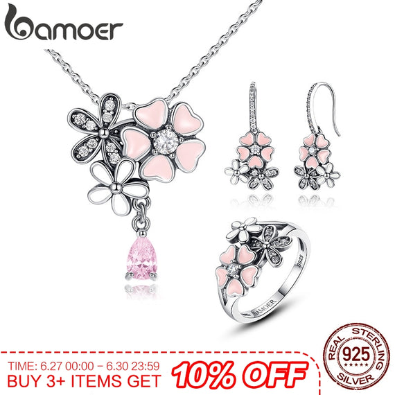 BAMOER 100% 925 Sterling Silver Pink Flower Poetic Daisy Cherry Blossom Bridal Jewelry Sets | Shop Latest Jewelry Accessories | Judelry.com