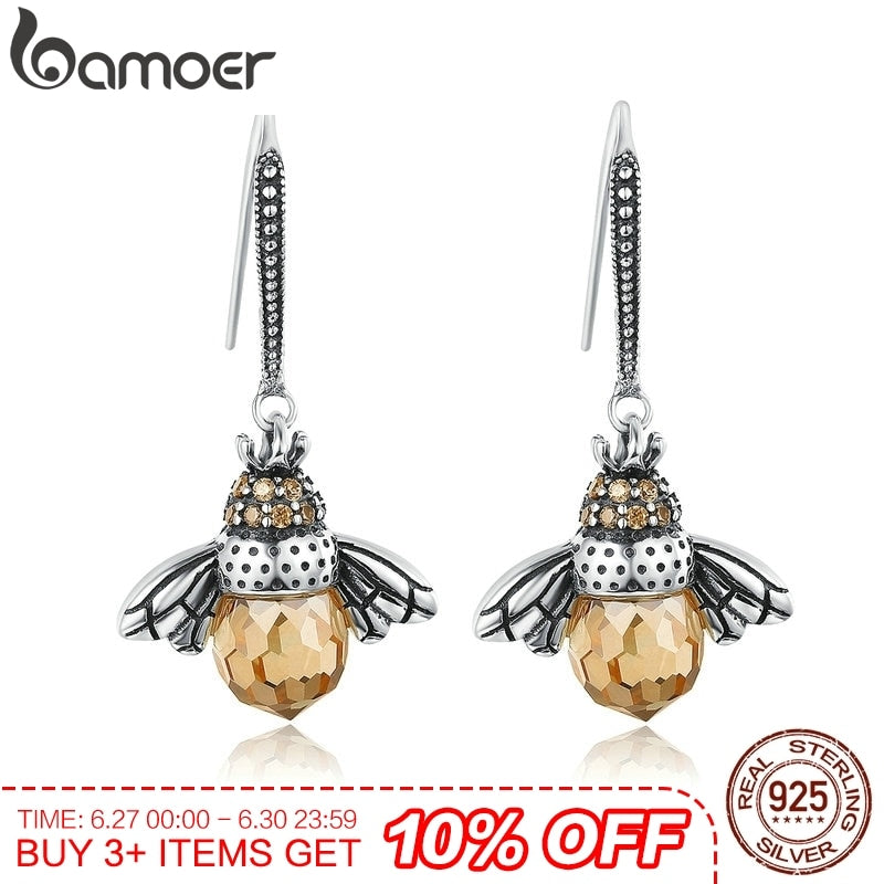 BAMOER Hot Sale Genuine 925 Sterling Silver Lovely Orange Bee Animal Drop Earrings for Women Fine Jewelry | Shop Latest Jewelry Accessories | Judelry.com