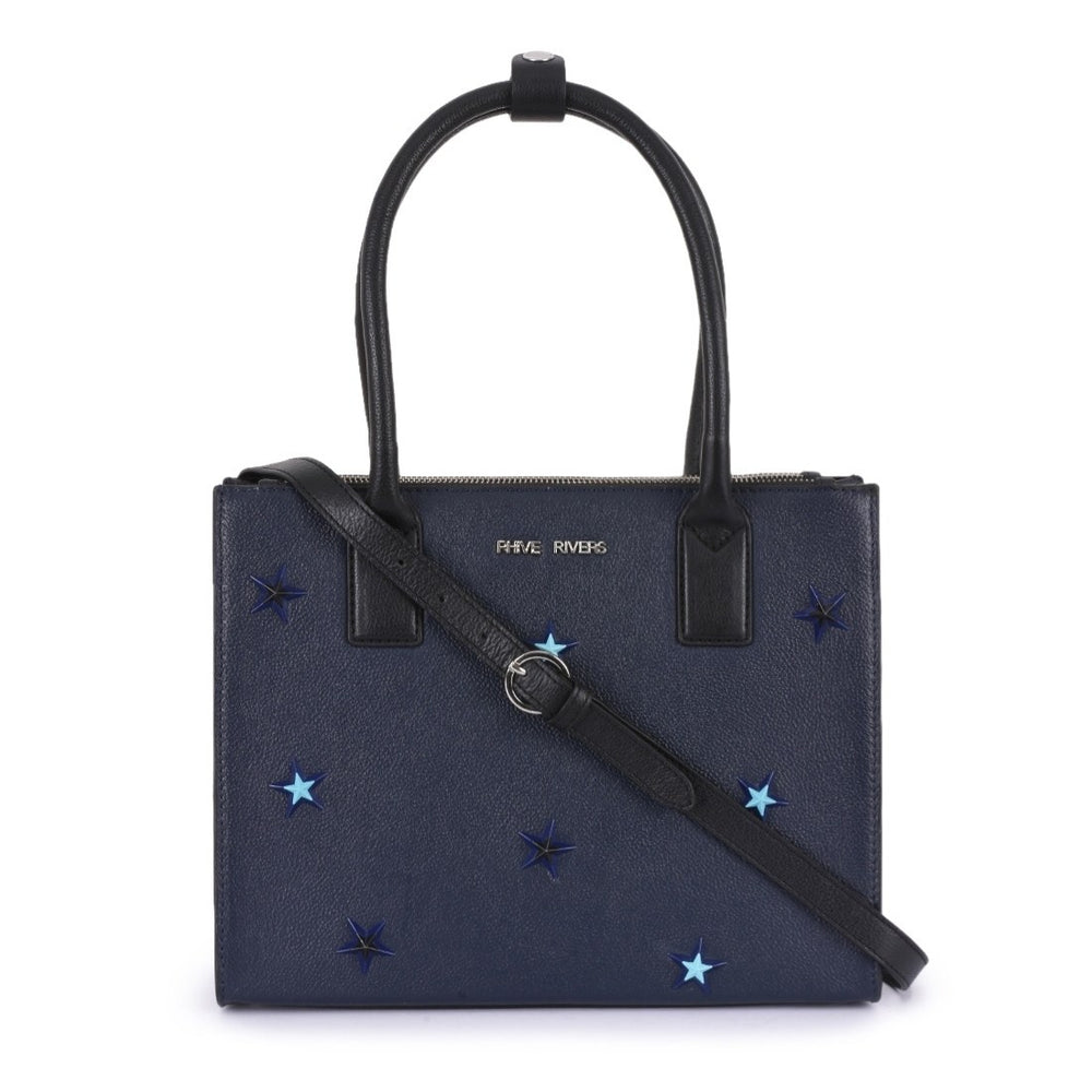 PR682N-Phive Rivers Women's Leather Navy Handbag-Home > Bags > Handbags-Phive Rivers-Faeshon.com