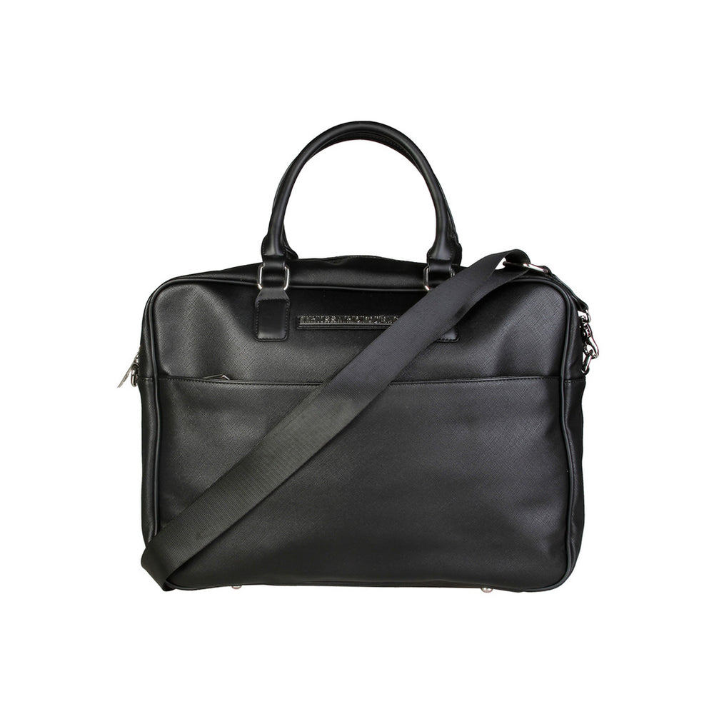 71B989T_NERO-Black-NOSIZE-Trussardi - 71B989T Men's Briefcase, Black-Home > Men's > Bags > Briefcases-Trussardi-black-NOSIZE-Faeshon.com