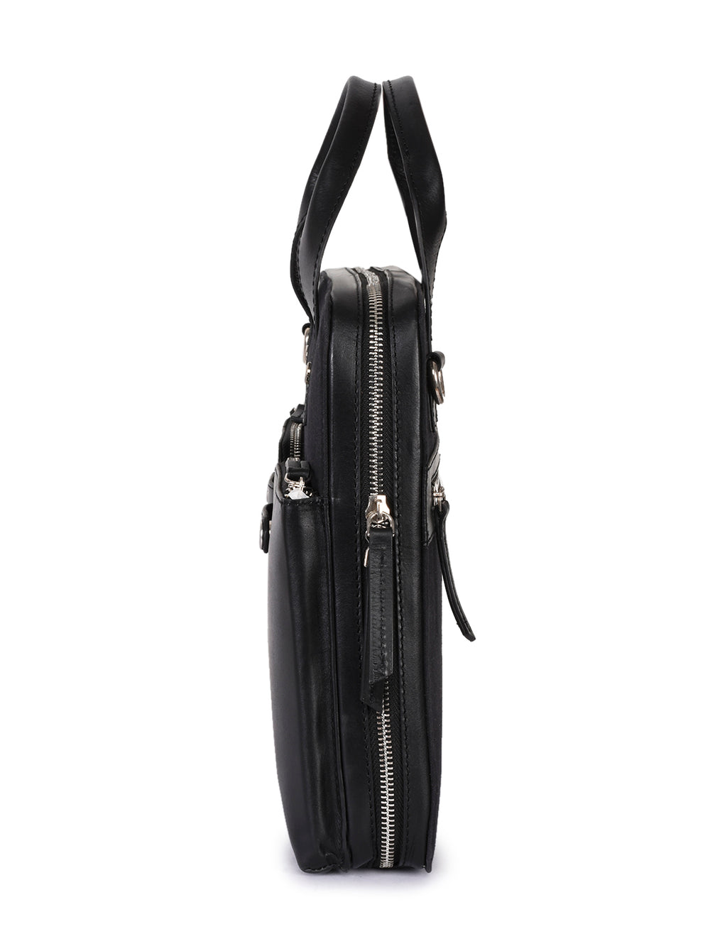 PRM629-Phive Rivers Men's Leather and Canvas Black Laptop Bag-Home > Bags > Crossbody Bags-Phive Rivers-Faeshon.com