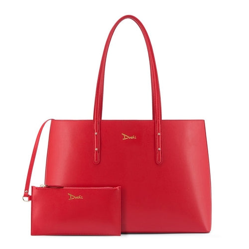 RED-Debut Casual Tote - Vegan-Home > Bags > Handbags-Olive Smokey-Red-Faeshon.com