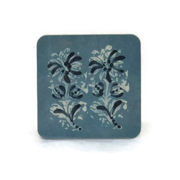 6 Blue Block Print Coasters