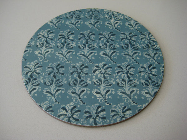 Large Blue Block Print Serving Mat