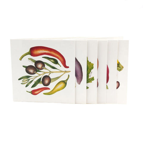 Pack of 6 'Baby Vegetables' Greeting Cards