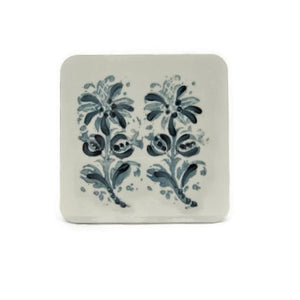 6 White Block Print Coasters