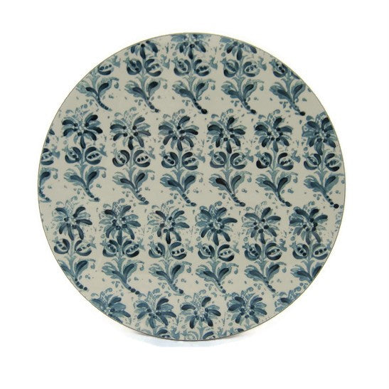 White Block Print Tablemat